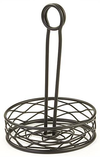 FixtureDisplays 6PK Round Wire Condiment Caddy w/Sign Clip - Black 19691-6PK-NF No