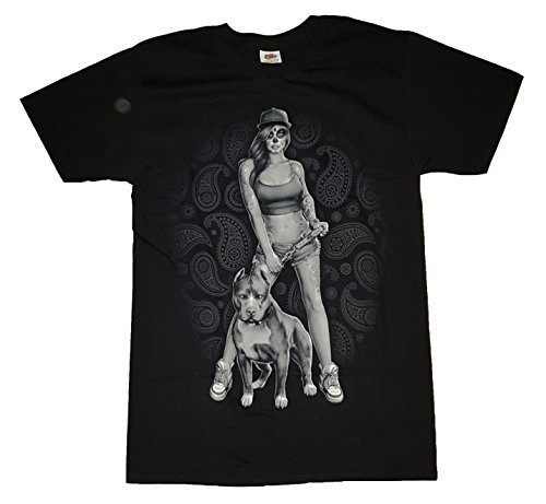 Tattooed Girl & Pit Bull Graphic T-Shirt - (Pit Bull Girl)