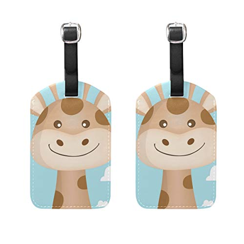(Set of 2 Luggage Tags Giraffe Face On Cloud BackgroundSuitcase Labels Travel Accessories)