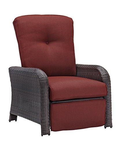Hanover Strathmere Outdoor Luxury Recliner, Rich Brown/Crimson - Luxury Shopping Online