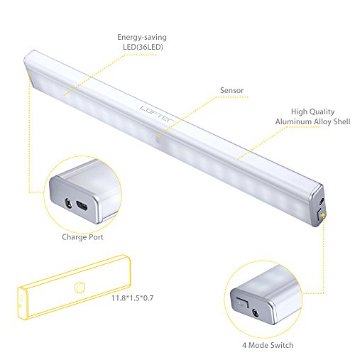 Rechargeable Closet Light, LOFTER Portable 36-LED Wireless Motion Sensor Light Stick-on Anywhere Aluminum Under Cabinet Lighting with 1500mAh Battery by LOFTER (Image #7)