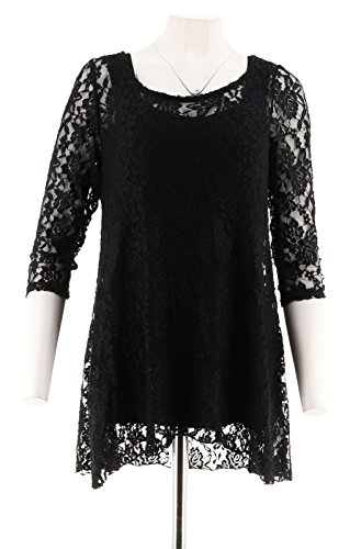 Attitudes Renee Charming Lace Tunic Jersey Knit Tank Set Black 1X New A267639 from Attitudes by Renee
