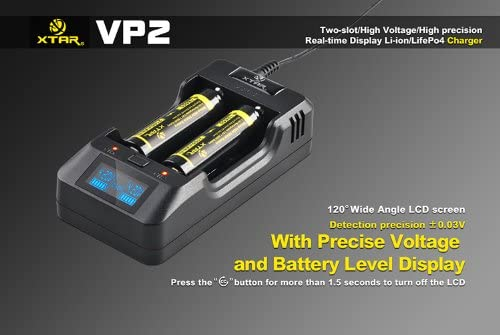 XTAR VP2 2-Channel Battery USB Power Bank for 18560 and Lithium Ion and LiFePO4