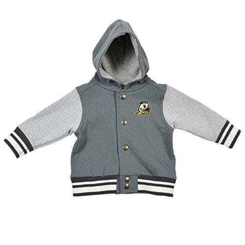 NCAA Oregon Ducks Children Unisex Infant Letterman Jacket, 18 Months, Pewter/Oxford