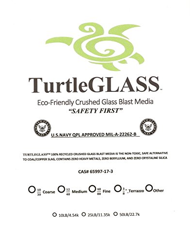 TurtleGLASS Eco-Friendly, Crushed Glass Blast Media 40/80_Fine Grit_40lb Bag