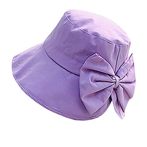 Loosebee Summer Female Fisherman Hat Big Sun Hat Cap Bow Sun Grass Purple