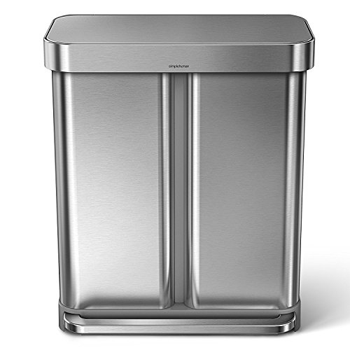 (simplehuman 58 Liter/15.3 Gallon Step Can Liner Pocket, Brushed Stainless Steel Dual Compartment Recycler, Rectangular)