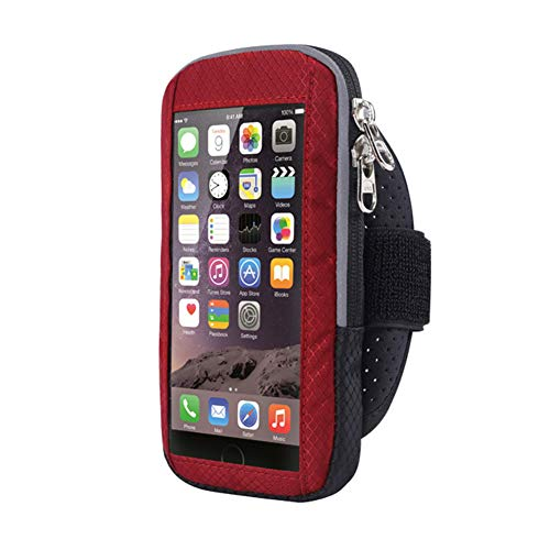 Running Armband, Waterproof Sportband Case with Key Holder & Card Slot Perfect for Biking, Hiking,Exercise,Gym Fit for Your iPhone, Samsung and Other Smartphones(L,Red)