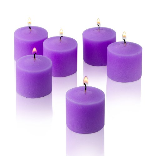 Light In The Dark Lavender Votive Candles - Box of 12 Unscented Candles - 10 Hour Burn Time - Candles for Weddings, Parties, Spas and Decorations
