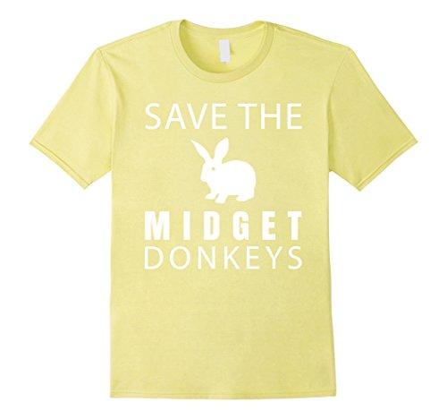 Mens Save The Midget Donkeys Funny Rabbit T-Shirt XL - Midget Funny T-shirt