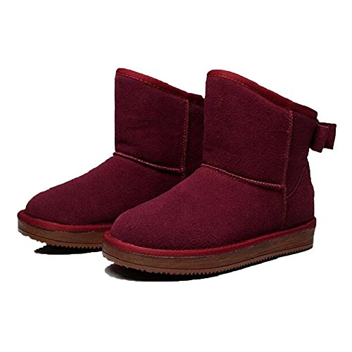 Ankle Leather Snow Wine Fur Butterfly Women Slippers Wool Bootie Cow Shelaidon Flat Classic Boots 0qtOE