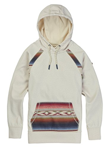 Burton Women's Crown Bonded Pullover Hoodie, Canvas Heather/Canvas Iris Stripe, (Burton Womens Snowboard Jackets)