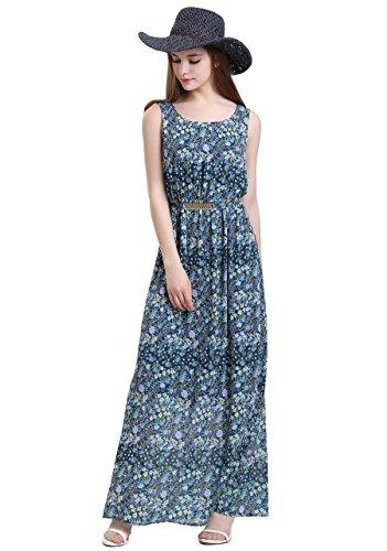 Vero Viva Women Sleeveless Floral Print Beach Dress Long Casual Dress Blue - Shopping In Vero Beach