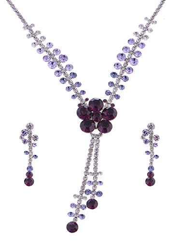(Alilang Delicate Blue Amethyst Butterfly Dangle Crystal Rhinestone Necklace Earring Set (Purple-1))