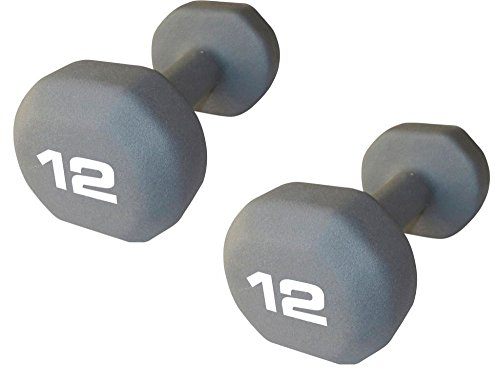 "Set of 2 - Fitness Gear 12 lb Neoprene Dumbbell (Dimensions: 9"" L x 4.3"" W x 3.8"" H)"