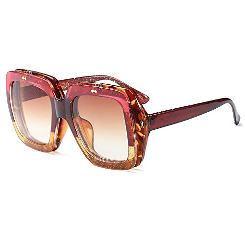 Color estilo mujer de Peggy cuadrado Gafas de de verano tamaño libre Protección para vacaciones UV color conducir Personalidad marco gran al abatible sol Gafas sol playa Gu aire de de Marrón de Amarillo ZxYZqwA