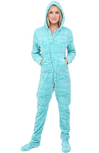 Alexander Del Rossa Womens Fleece Onesie, Hooded Footed Jumpsuit Pajamas, XS Textured Aqua (A0322TAQXS)