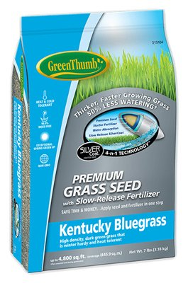 Green Thumb Dlf GREUN215 Premium Coated Kentucky Bluegrass Seed, 7-Lbs. - Quantity - Thumb Green Lawn