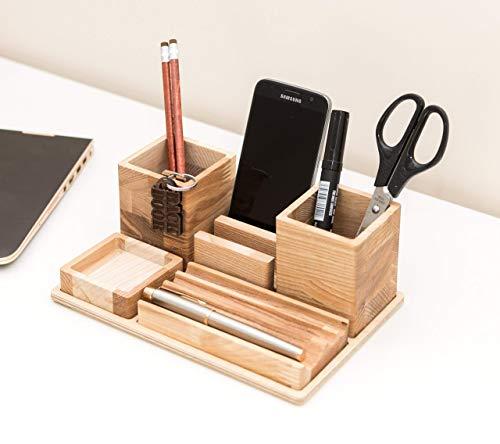 Big Handmade Wooden Desk Organizer 9 x 6.1 x 3.4 inches