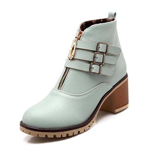 Eu Auturm Chelsea New Botas Zapatos 32 6cm Winter 44 Hebilla Mujer Tamaño Pura Martin Heel Zapatos Corte Casual Zipper Color Toe Boots Hebilla Botas Zapatos Color Chunkly Moda Blu Bota Ronda Botas gqPffFz54