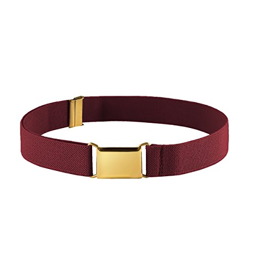 FIT RITE Kids Elastic Adjustable Stretch Belt for Boys Girls Toddlers With Gold Square Buckle (Maroon)