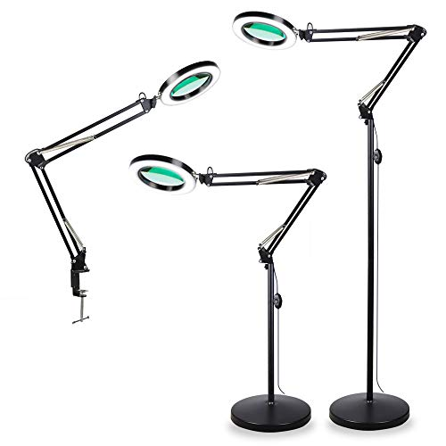 TOMSOO 3-in-1 LED Magnifying Floor Lamp with Utility Clamp, Cool White/Warm White Bright Full Spectrum Magnifier Lighted Glass Lens - Adjustable Stand and Swivel Arm Light - for Reading Task (Black)
