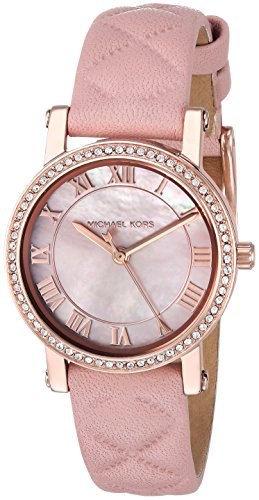 Pink Watch Leather (Michael Kors Women's Quartz Stainless Steel and Leather Casual Watch, Color:Pink (Model: MK2683))