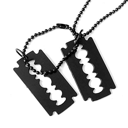 (Matte Black Razor Blade Dog Tag Necklace)