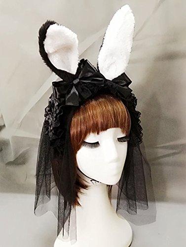Gothic Lolita Women Bunny Rabbit Ear Alice Headband Hairband Party Club Rose Ribbon Hair Band Fancy Dress Lolita Handmade Kangsanli (with 30cm veil)