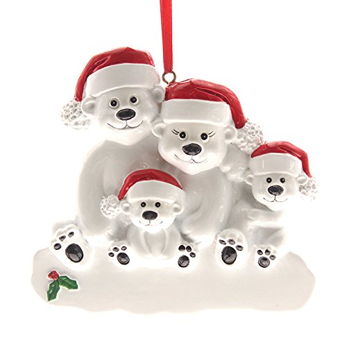 Polar Bear Family of 4 Personalize Christmas Ornament, Made of Resin