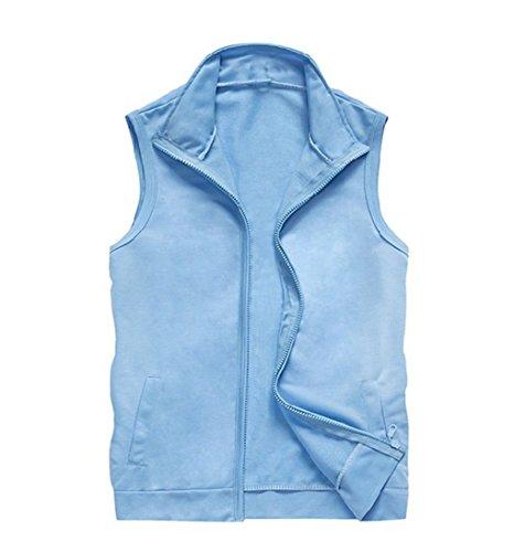 LemonGirl Men's Casual Lightweight Sleeveless Solid Color Zip up Vest Tank Top