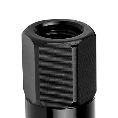J2 Engineering 20Pcs M12 x 1.25 7075-T6 Aluminum 123mm Spiked Cap Lug Nut w/Socket Adapter (Black): Automotive