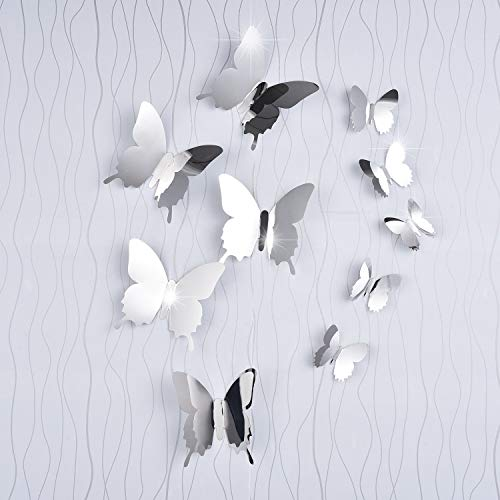 BBTO 36 Pieces DIY Mirror Butterfly Combination 3D Mirror Wall Stickers Home -