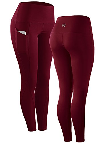 Neleus 2 Pack Tummy Control High Waist Running Workout Leggings,9017,2 Pack,Red,Rose Red,US S,EU M by Neleus (Image #1)