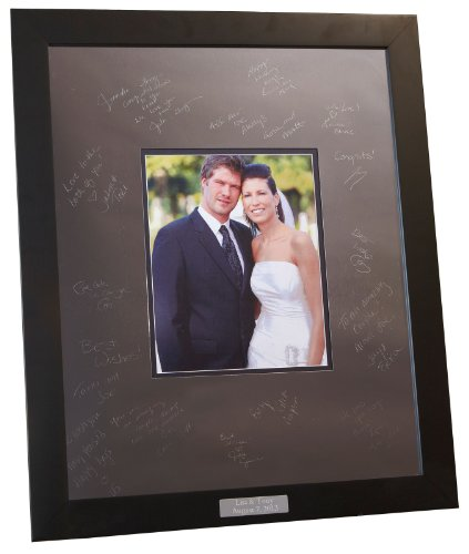 Signature Keepsakes Engravable Signature Frame 16x20 Metal Mat and Modern Block Frame by