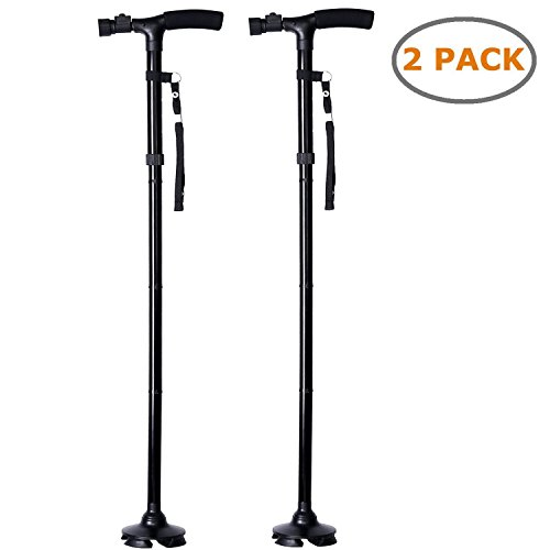 Ohuhu 2-Pack Folding Walking Cane with LED Light, Adjustable Walking Stick with Carrying Bag by Ohuhu