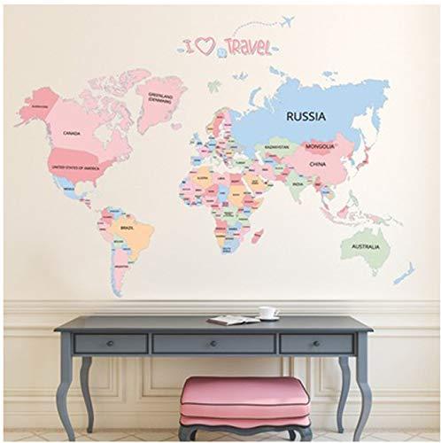 GKAWHH Mapa del Mundo del Color Etiqueta De La Pared Creativo DIY ...