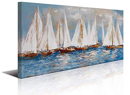 Large White Sailboats Canvas Painting Wall Art Decor for Living Room Office Abstract Seascape Picture Artwork Home Bedroom Wall Decoration ()