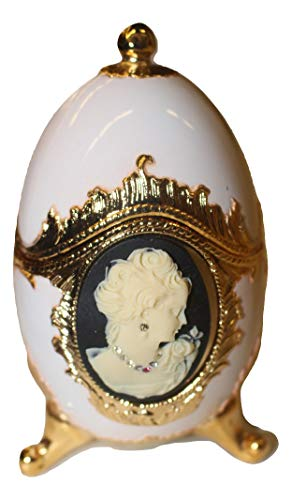 Sparkling Black and White Cameo Egg Shaped Musical Jewelry Box with Crystallized Swarovski Elements playing Unforgettable -