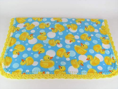 Little Yellow Rubber Ducks & Bubbles Fleece Baby Blanket in Blue