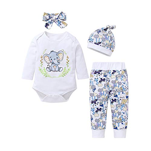 Newborn Infant Baby Boys Girls Print Tops T-shirt Pants Hat Pajama Outfits Set Baby Elephant Print Home Suit Set Long-Sleeved For Children Toddler Baby Girl Kid Autumn Clothes (6-12M, White) (11 Plush Elephant)