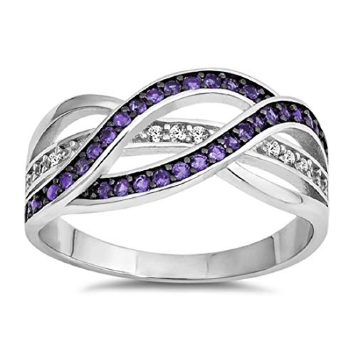 Blue Apple Co. Half Eternity Weave Knot Ring Crisscross Crossover Simulated Purple Amethyst Round CZ 925 Sterling Silver,Size-11