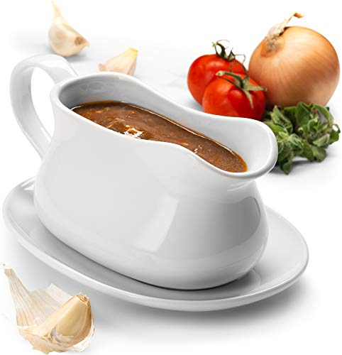 KooK Gravy Boat and Tray, Ceramic Make, 17oz, - Gravy Boat Glass