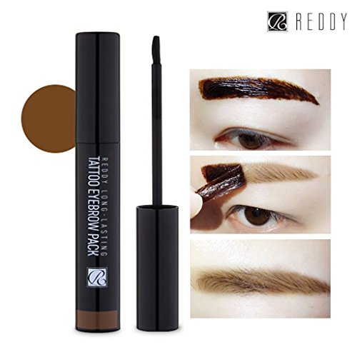 [REDDY] Long Lasting Tattoo Eyebrow Pack 10g, Peel-Off 7 Days Eyebrow Tint Gel, Made in Korea (Light - Ebony Light Brown
