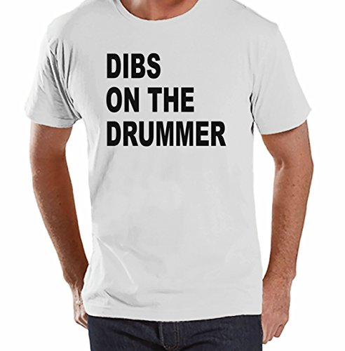 7 ate 9 Apparel Mens Dibs on Drummer T-shirt Small White (Groupie Outfits)