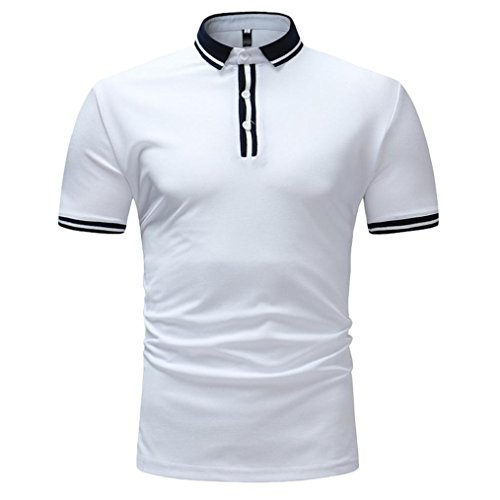 Realdo Men's Striped Polo Shirt, Slim Fit Stand Collar Short Sleeve Button Down Tops Shirts(White,XX-Large) ()
