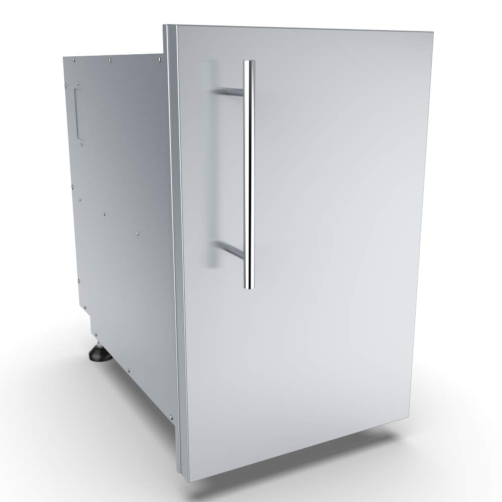 SUNSTONE DE-DVPR15 Designer Series Raised Style Single Door Dry Storage Pantry, 15'', Stainless Steel by SUNSTONE