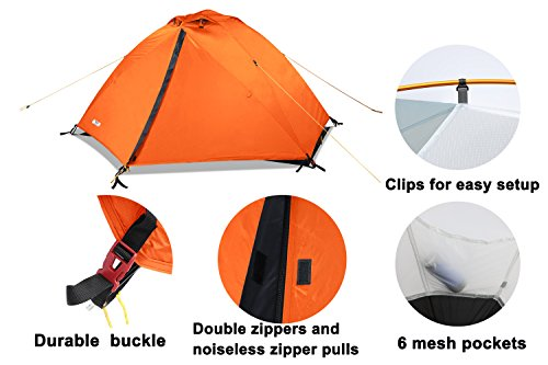 MIER 2 Person Camping Tent Free Standing Outdoor Backpacking Tent with Footprint, Waterproof & Quick Setup, 3 Season, orange