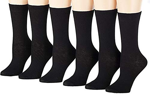 Tipi Toe Women's 6-Pairs Colorful Funky Patterned Crew Dress Socks (Classy Black (WC14-6))