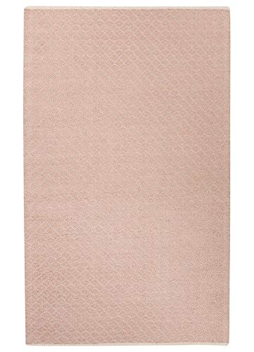 (Diva At Home 5' x 8' Blush Pink and Light Burlap Brown Rainier Hand Woven Blended Wool Area Throw Rug )